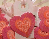 Tags, Valentine Tags, Heart Tags, Vintage Heart Tags, Valentine Heart Tags, Embossed Heart Tags, Love Tags, Heart Love Tags, 6pc