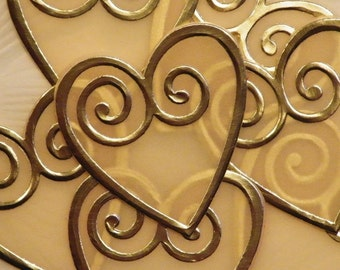12 Hearts, Paper Hearts, Paper Hearts Vellum, Paper Hearts Die Cut, Paper Hearts with Gold or Silver Trim