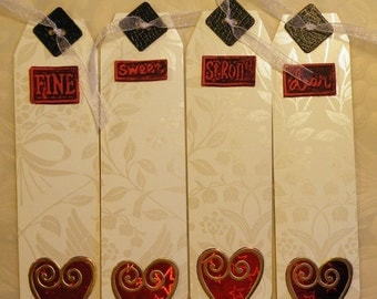 8 Valentine Tags, Heart Tags, Long Tags,  White & Red Tags, Gold Trim Tags, Words Tag