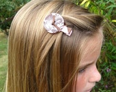 Pink and Brown Damask Button Hair Clip