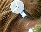 Blue and Cream Damask Button Clip