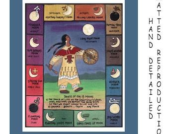 Thirteen Moons - 8x10 Dye Painting Print on 11x14 Mat Board - Free Shipping USA