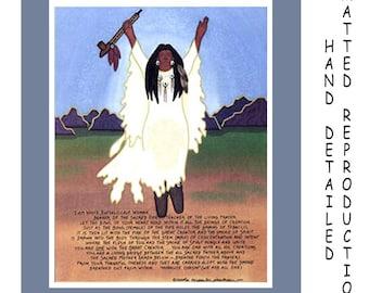 White Buffalo Calf Woman - 8x10 Dye Painting Print on 11x14 Mat Board - Free Shipping USA