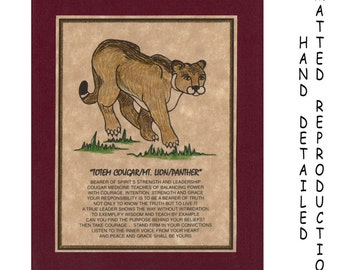 TOTEM COUGAR - Totem Animal Print on 5x7 Mat Board - Free Shipping Continental United States