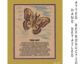TOTEM MOTH - Totem Animal Print on 5x7 Mat Board - Free Shipping Continental USA