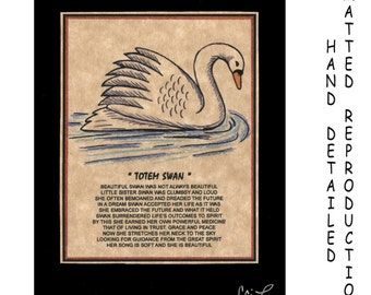 TOTEM SWAN - Totem Animal Print on 5x7 Mat Board - Free Shipping Continental United States