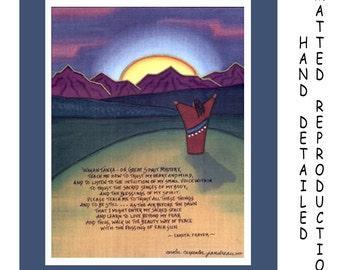 Lakota Prayer - 8x10 Dye Painting Print on 11x14 Mat Board - Free Shipping USA