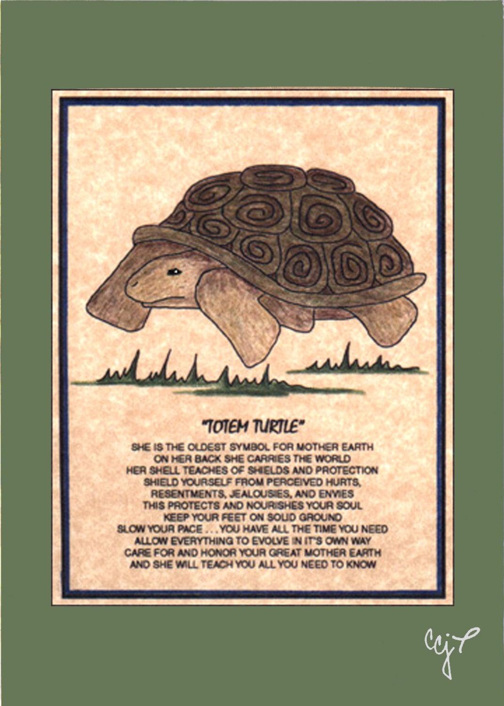 Totem Turtle Totem Animal Print On 5x7 Mat Board Free