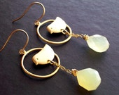 Lemon Birdie - Gold and Lemon Chalcedony Earrings
