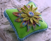 Felt Pincushion Irish Crochet Motif Daisy Applique
