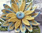 Crochet Brooch Fiber Brooch Irish Crochet Pin Daisy Brooch Yellow Blue Green Crochet Flower Pin crochet Flower Brooch