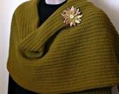On Sale Marked Down 25% Knit Scarf Stole Crochet Edge Reversible Chartreuse Daisy Flower Brooch