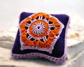On Sale Marked Down 50% Felt Pincushion Irish Crochet Lace Motif Orange and Purple