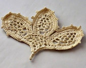 On Sale Marked Down 50% Crochet Applique Irish Lace Motif Budding Lily in Creamy Ecru
