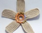On Sale Marked Down 50% Crochet Applique Irish Lace Motif Ecru Peach Wisteria Caramel Flower
