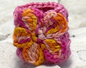 Crochet Ring Fiber Ring  Crocheted Ring Flower Applique Yellow Pink Orange on Dark Pink Band