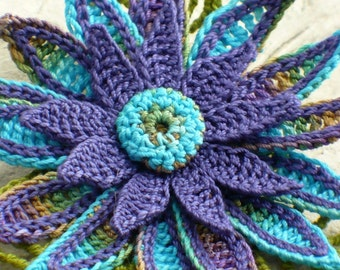 Crochet Brooch Fiber Brooch Irish Crochet Pin Daisy Brooch Peacock Purple Blue Olive Teal Crochet Flower Pin Crochet Flower Brooch