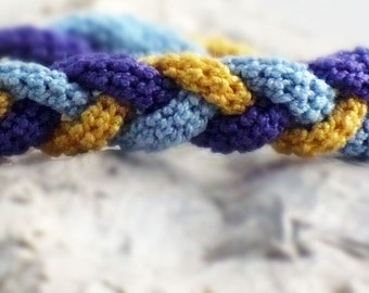 On Sale Marked Down 25% Crochet Bracelet Fiber Bracelet  Braided I-Cord Yellow Blue Purple