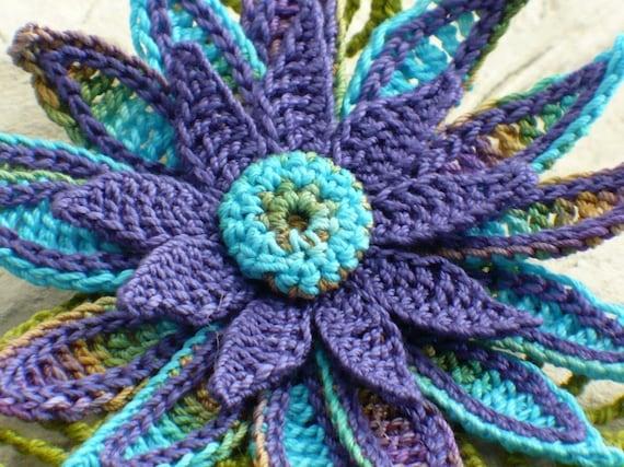 Crochet Brooch Fiber Brooch Irish Crochet Pin Daisy Brooch Peacock Purple Blue Olive Teal Crochet Flower Pin Crochet Flower Brooch