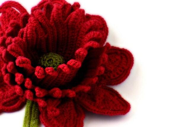 Crochet Brooch Fiber Brooch Red Rose Pin Irish Crochet Brooch Crochet Flower Pin Crochet Flower Brooch