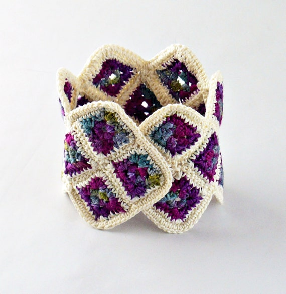 Crochet Granny Square Cuff Bracelet Blueberry Purple Indigo Ecru