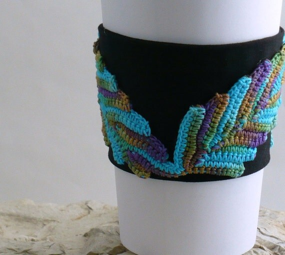 On Sale Marked Down 50% Crochet Cup Cozy Irish Lace Appliques Peacock