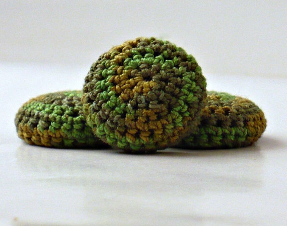 On Sale Marked Down 50% Covered Button Crochet Kelly Green Olive Evergreen Gray Green Avocado