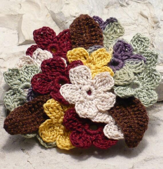 On Sale Marked Down 50% Crochet Brooch Ecru Chocolate Brown Maroon Yellow Sage Flower Cluster