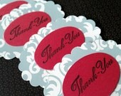Scroll Work Oval Thank you Tags