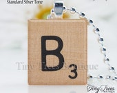 Sale- Natural Recycled Scrabble Tile Pendant- B
