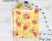 SALE - Recycled Scrabble Tile Pendant - Rosey Posey Resin Pendant
