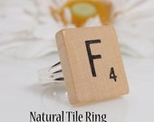 SALE Buy 2 get 1 Free-Recycled Natural Scrabble Tile Ring-You Choose Letter