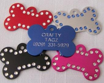 Dog ID Tag Swarovski Crystal Bone Shape Rhinestone Engraved Pet Identification ID Tag Charm Bling!!