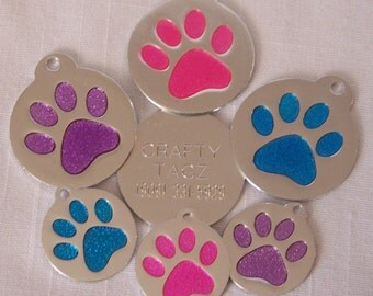 Glitter Paw Round Glitter Enamel Pet Dog Cat ID Tag ENGRAVED Pink Blue Purple