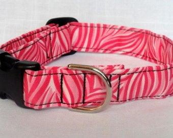 Pet Collar - Pink Zebra Print Dog Collar Cat Collar Pet Collar Custom made cute adjustable Dog Collar Zebra Print