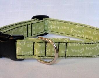 Dog Collar - Woof Bark Arf Funny Dog Pet Collar Red CUTE Designer Custom Dog Collar Green Dog Collar