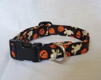 Custom Designer Dog Collar - Halloween with Ghosts and Pumpkins