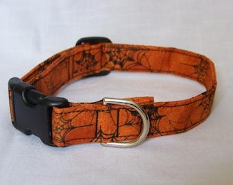 Custom Designer Dog Collar - Halloween with Spider Webs