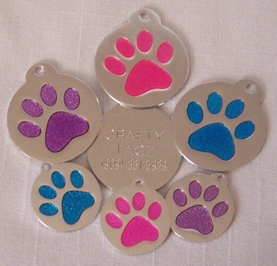 ID Tag - Glitter Paw Round Glitter Enamel Pet Dog Cat ID Tag Engraved Pink Blue Purple  ID Identification Charm Tag Paw Print
