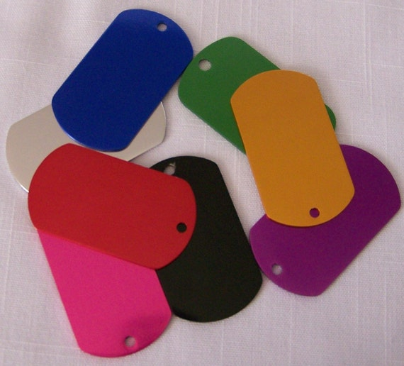 Military Style Engraved Dog Tag Multiple Colors 2 sided engraving 2 sizes to pick from