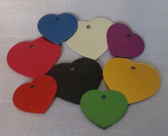 HEART shape Pet Dog Cat ID Tag Multiple Colors ENGRAVED  cute