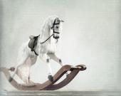 Rocking Horse Girl on Bow Rocker. English Dappled Gray. Black Leather Tack. White & Brown Wood. Photo 8x8 - In Memoriam Francis N. Gardner