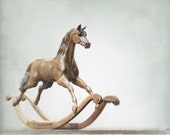Rocking Horse Wood Sculpture 'Kid Brother'. One-of-a-kind Mahogany Carving on a Bow Rocker. English Traditional. Photo 8x8