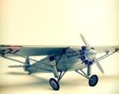 Old Airplane 'Spirit of St. Louis'. Dark Silver Metal, Yellow Light, Some Black. Art for the Nursery. Vintage Toys Series. 1 Photo 5x5