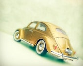 VW Beetle. Volkswagen. Bug. Toys for Boys & Girls. Gold and White and Chrome for the Nursery. Vintage Toys Series. 1 Photo 5x5