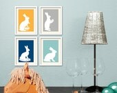 White Easter Bunnies. Rabbits on Warm Gray, Dark Blue, Deep Yellow, Aqua Green. Set of 4 Prints 5x7.