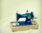 Dark Blue Children's Sewing Machine. Hand Wheel. Ornaments in Gold. Silver Metal Parts. Nursery Art. Vintage Toys Series. 1 Photo 8x8
