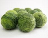 Moss Green Multicolored Felt Beads