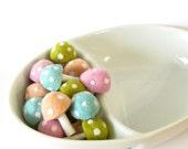 Needle Wool Felted 20 Pastel Toadstools Mushrooms -Home Decor