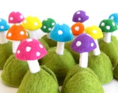 Wedding  - 10 Name Card - Menu Holders - Photo Stand - Party Favor - Needle Felted Toadstools